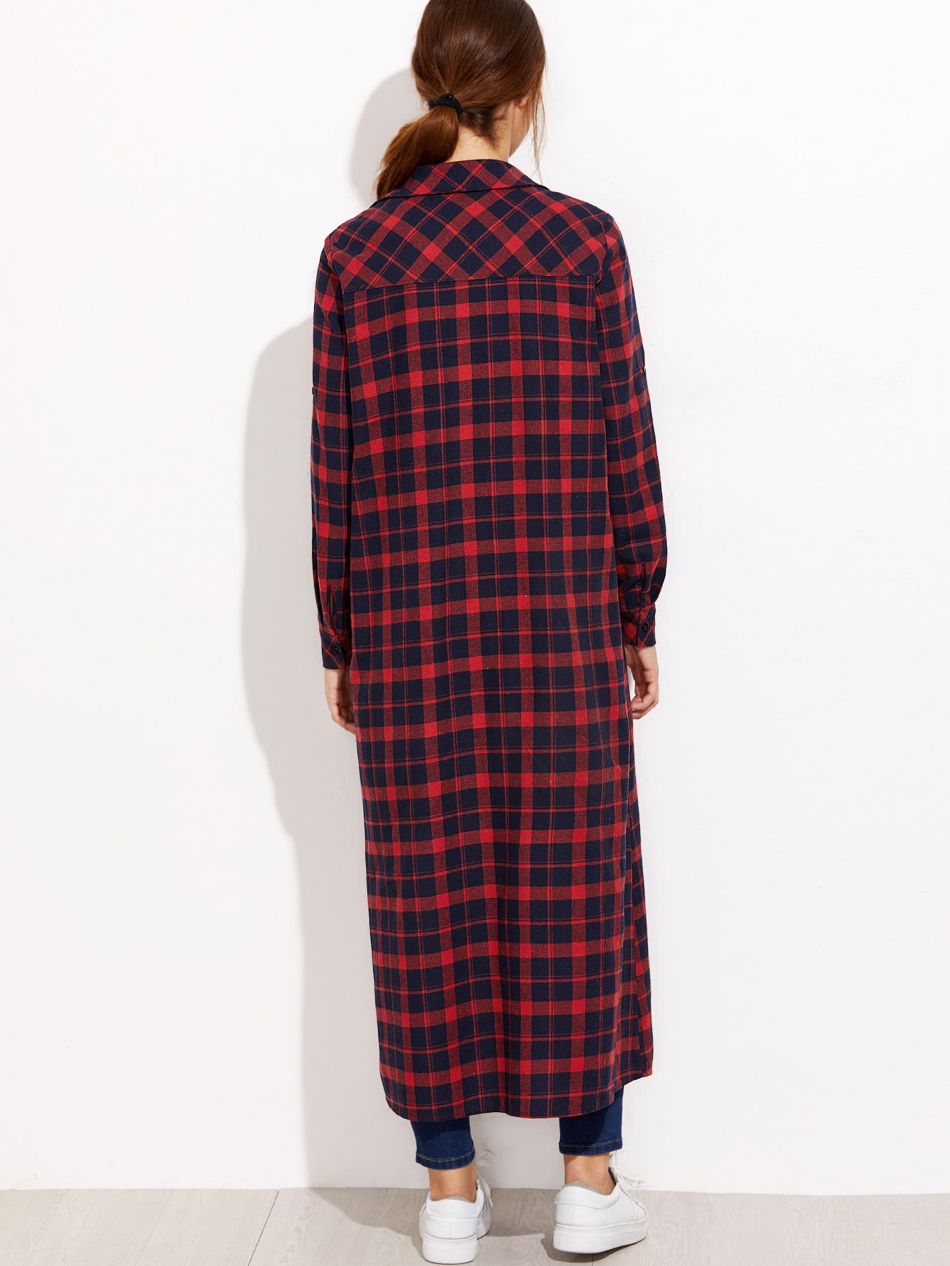 blouse en tartan avec poche bleu marine et rouge french shein sheinside. Black Bedroom Furniture Sets. Home Design Ideas
