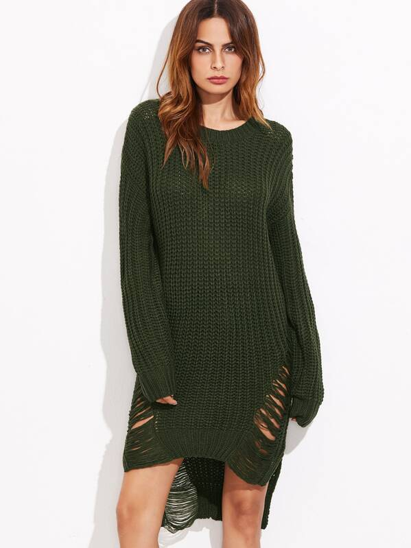 67bec6ca11a Olive Green High Low Ripped Sweater Dress