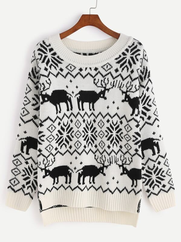 Black And White High Low Ugly Christmas Sweater Sheinsheinside