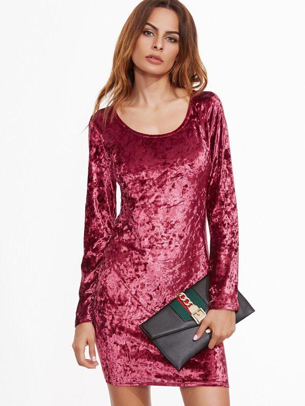 e423ec59b8abc Burgundy Velvet Long Sleeve Bodycon Dress | SHEIN