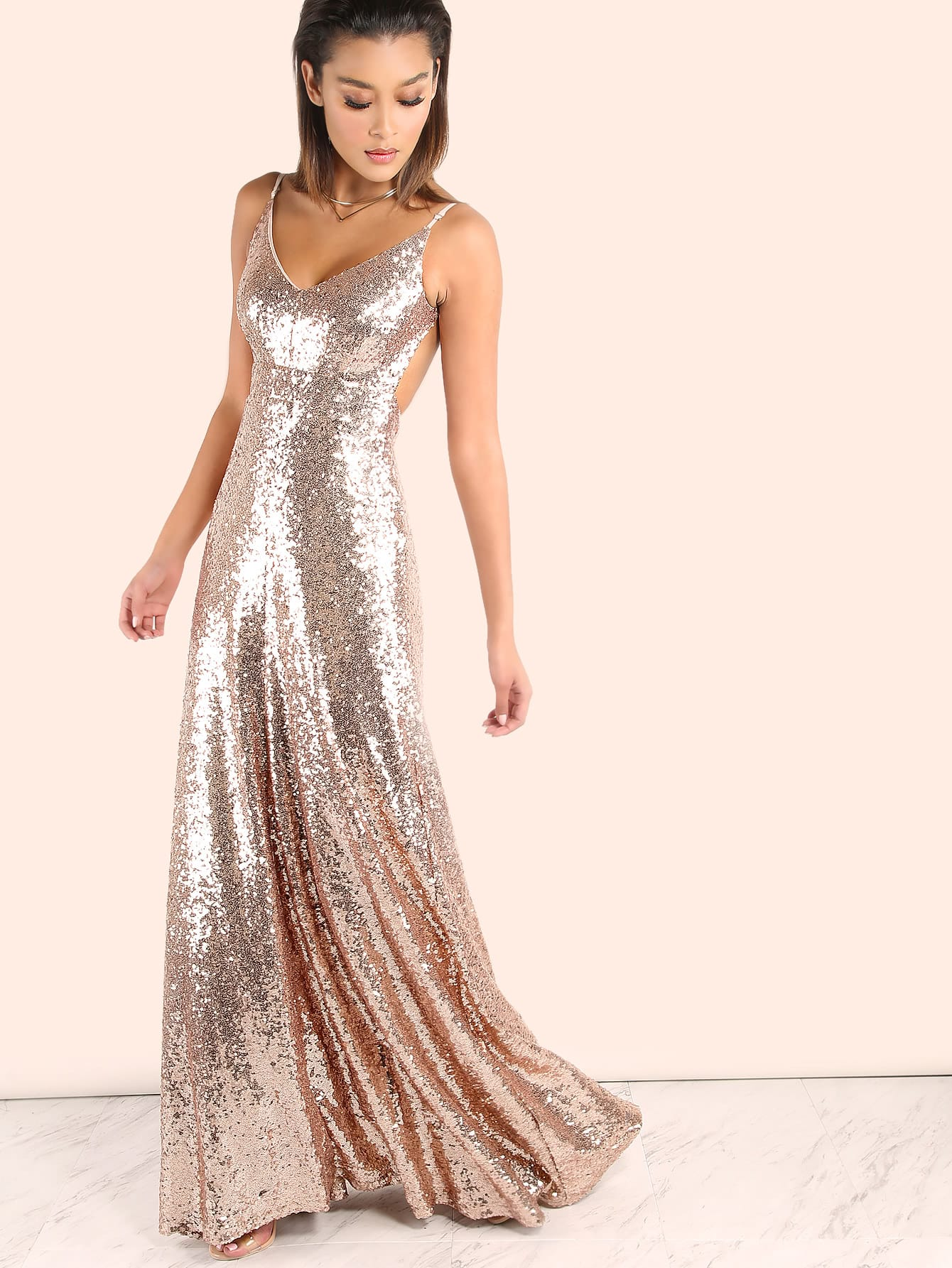 7eb3d0e309f8 Backless Sequin Cami Maxi Prom Dress | SHEIN UK