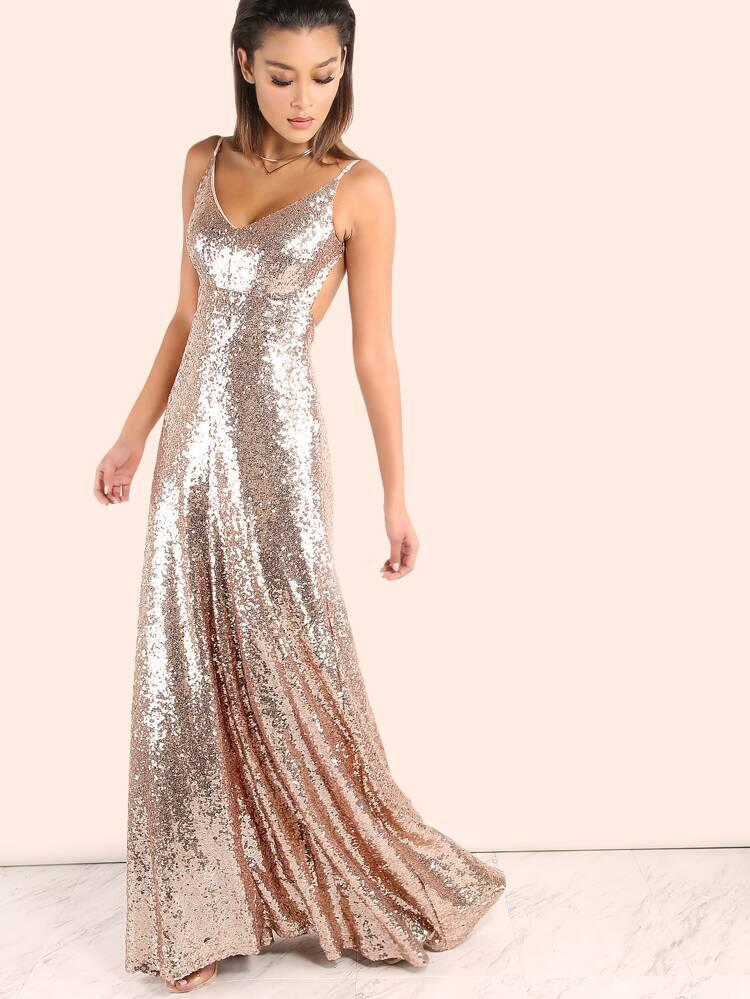 a2fc3189cb3 Backless Sequin Cami Maxi Prom Dress