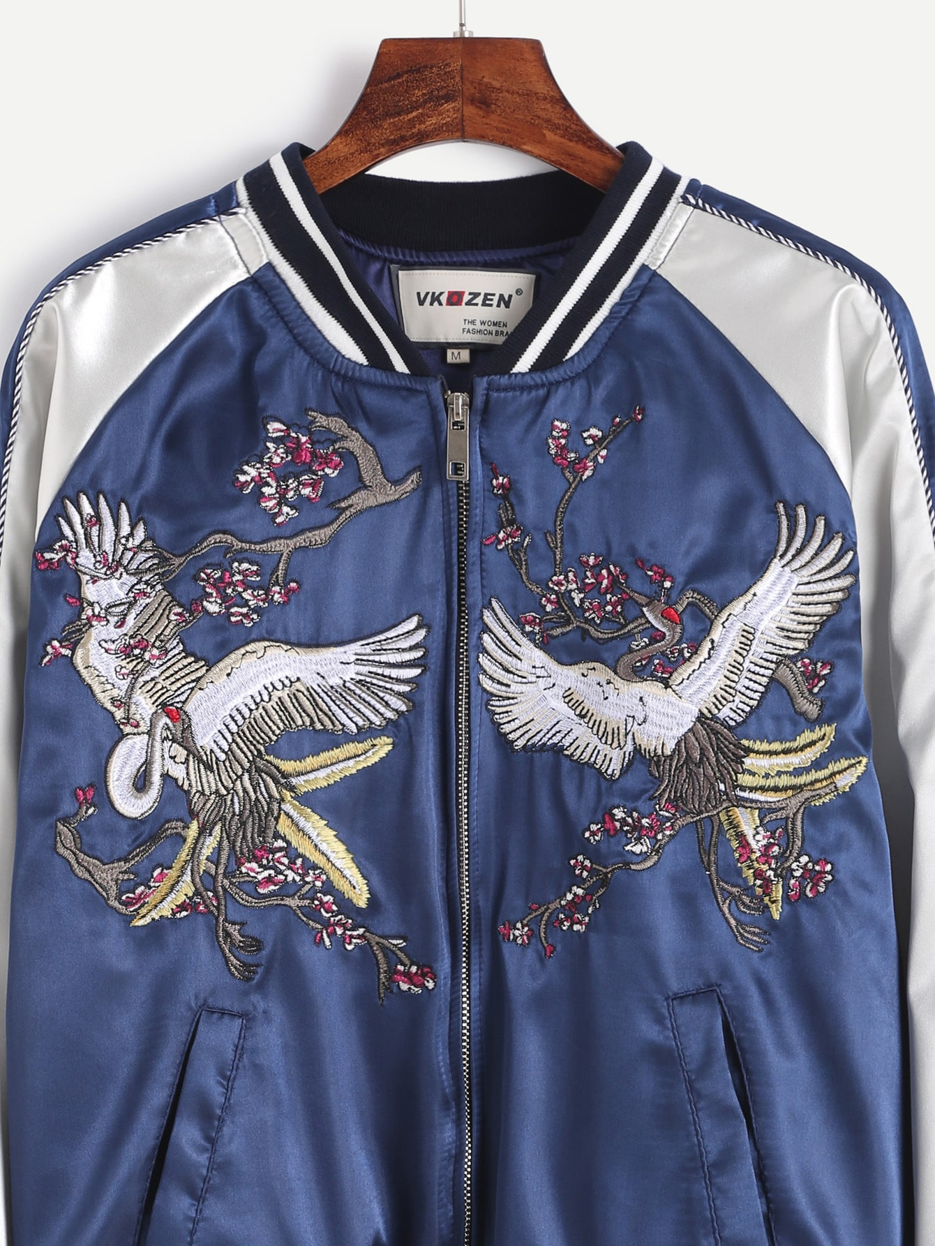 Contrast Striped Trim Embroidered Baseball Jacket SheIn