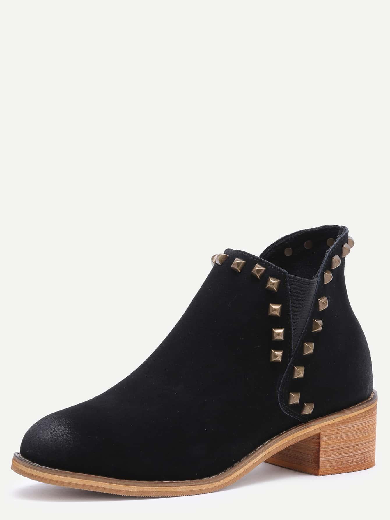 black genuine leather distressed rivet chelsea boots