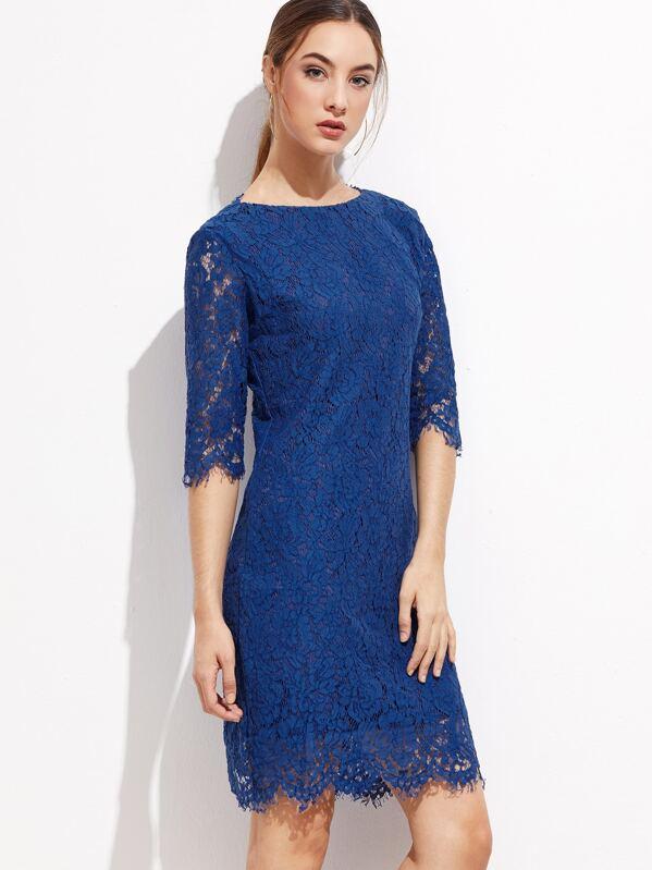 00a933718e Royal Blue V Back Scallop Hem Lace Dress