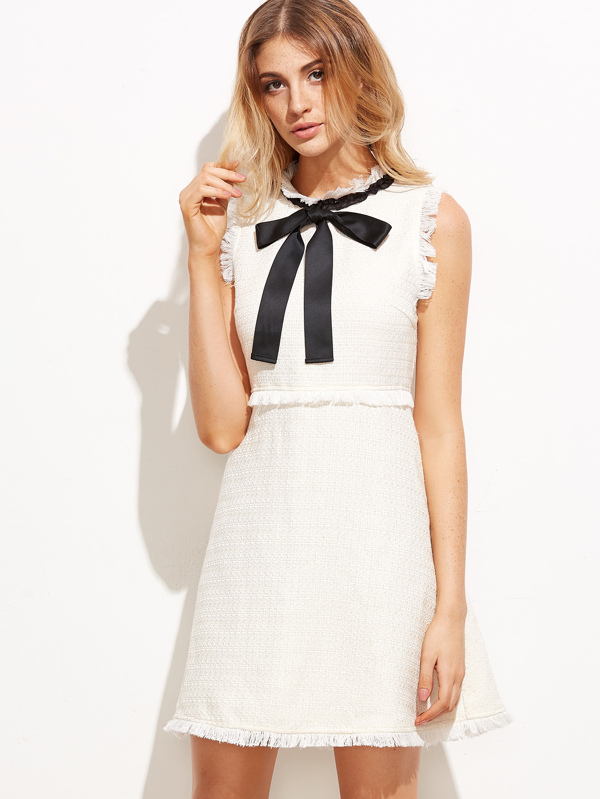 ausgefranst Saum Tweed Kleid mit Schleife Kragen-weiß- German SheIn ...