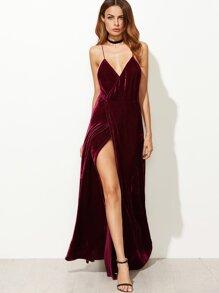 81ab308808 Strappy Back High Split Wrap Velvet Dress | SHEIN UK
