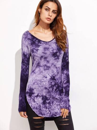 Purple Tie Dye Curved Hem T-shirt
