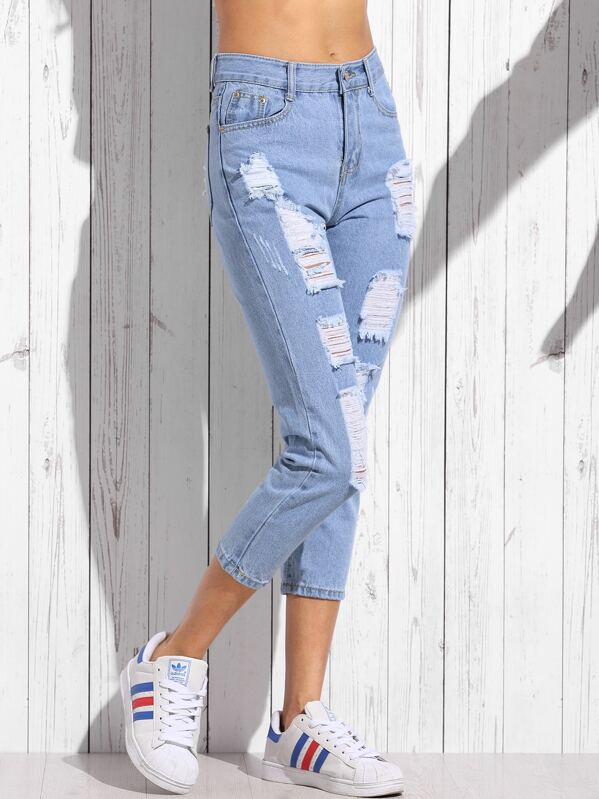 3afd745ec4b4 Jeans Strappati Stretti - Blu