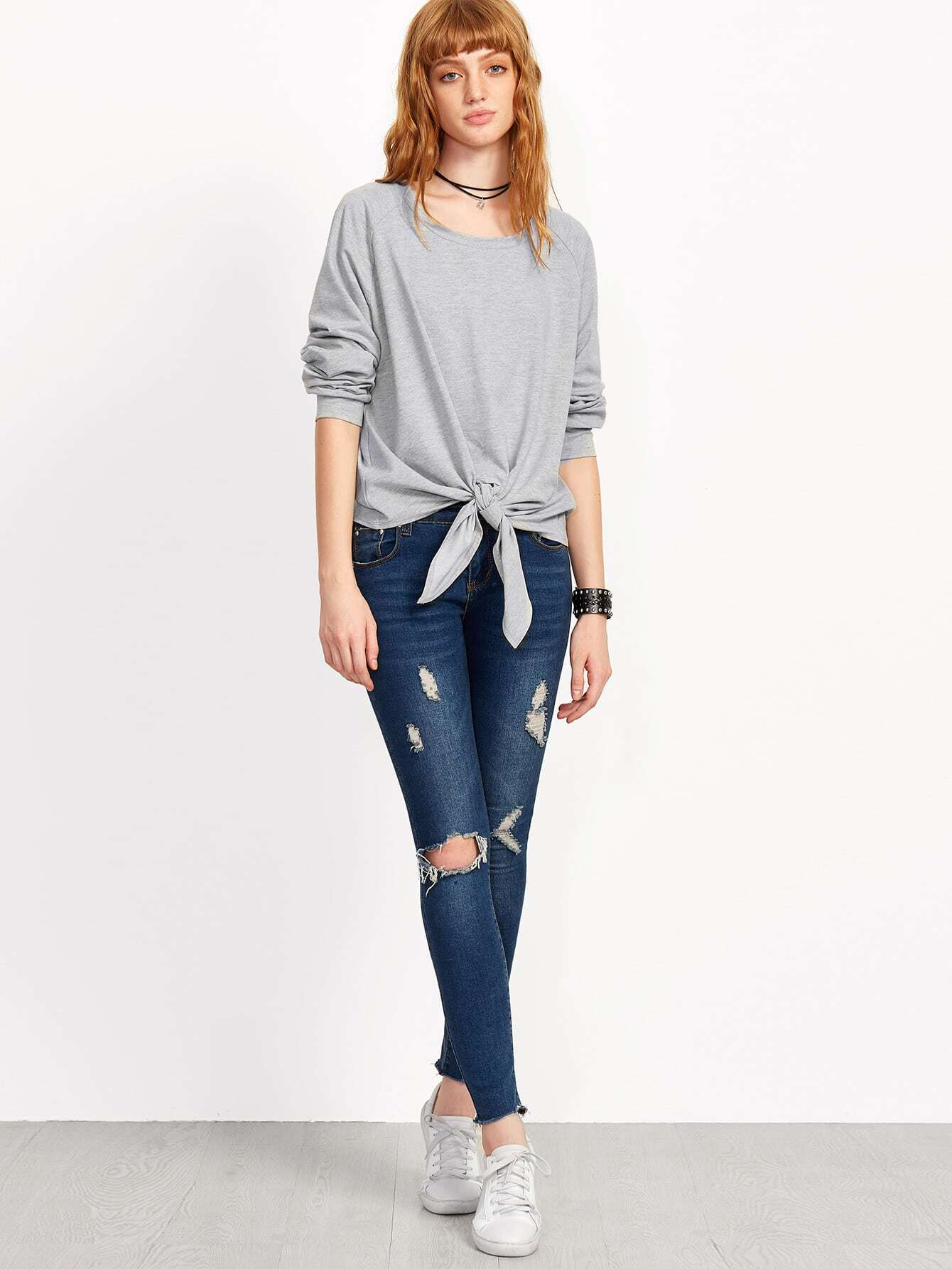 Grey Knotted Front Long Sleeve Sweatshirt
