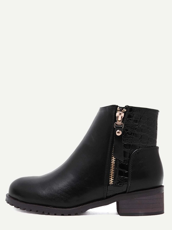 4f008be3c7 Black Faux Leather Croc Embellished Ankle Booties