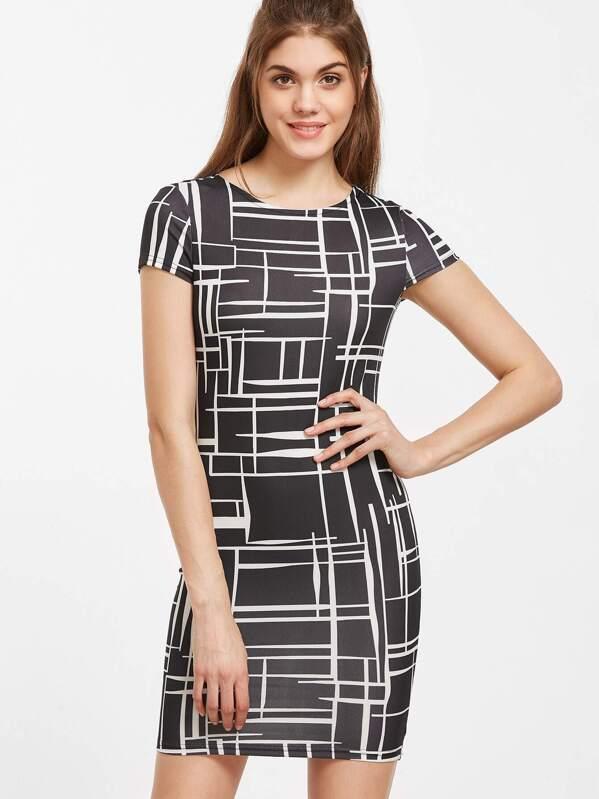 fbd4aabf5a8 Black Geo Print Bodycon Dress