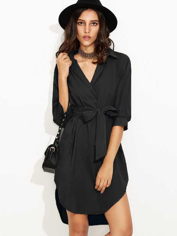 bb3eec986d3 Robe chemise mi-manche avec lacet - noir