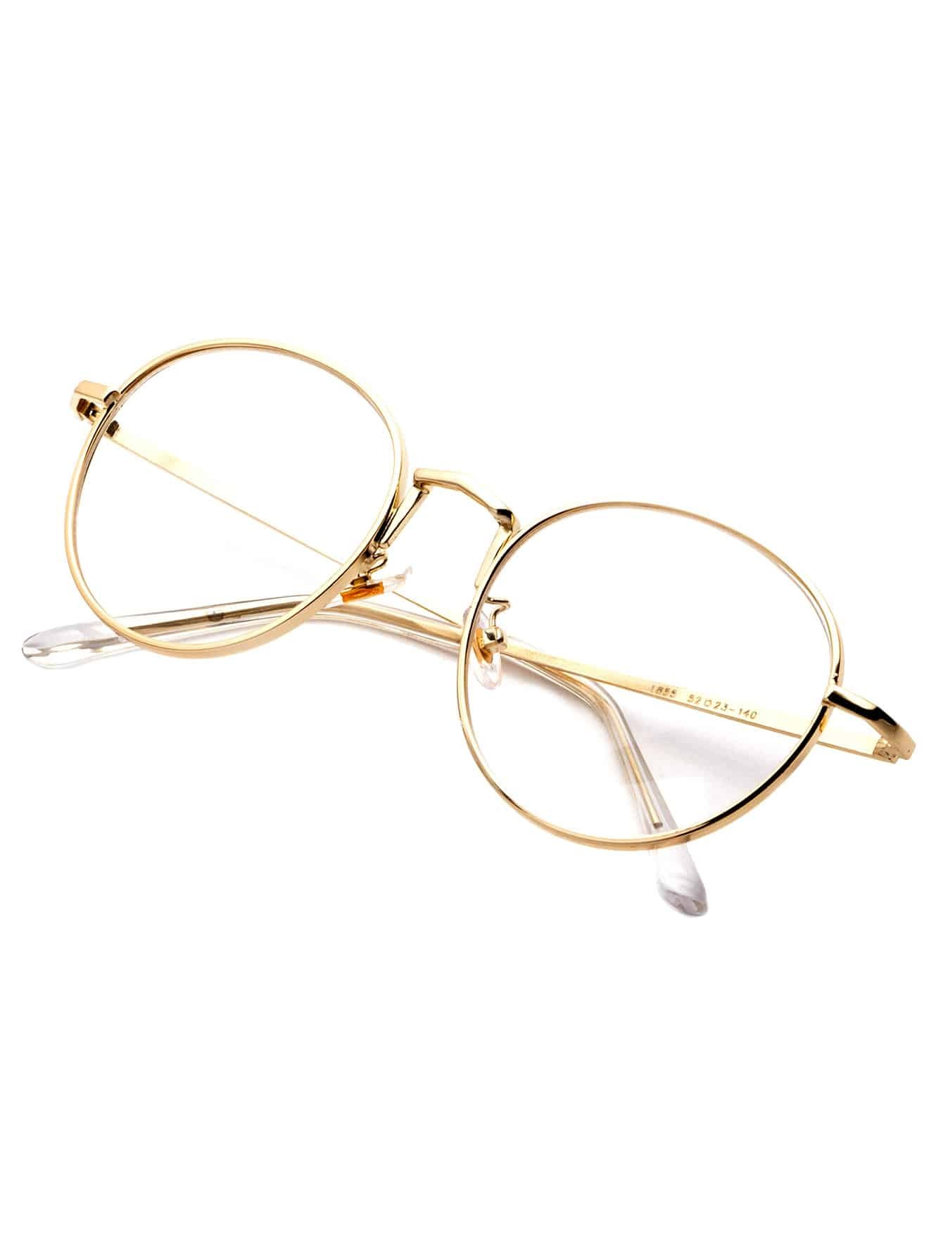 Gold Delicate Frame Clear Lens Glasses -SheIn(Sheinside)