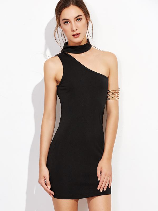 79a9475ce25 One Shoulder Choker Bodycon Dress | SHEIN