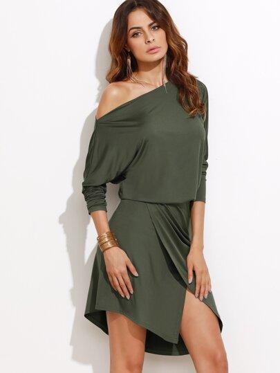Asymmetrical Shoulder Blouson Dress 534f9556c363