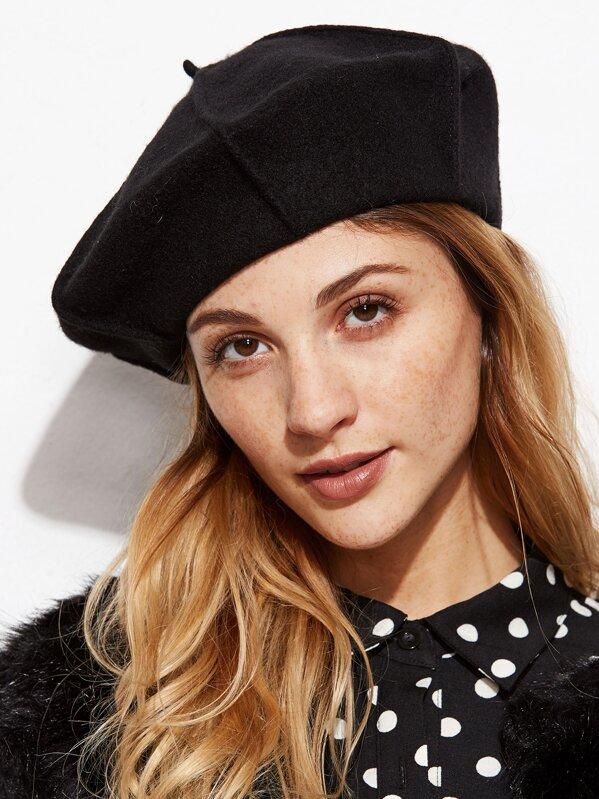 6c9699b3e321d Black Stylish Soft Beret Hat For Women