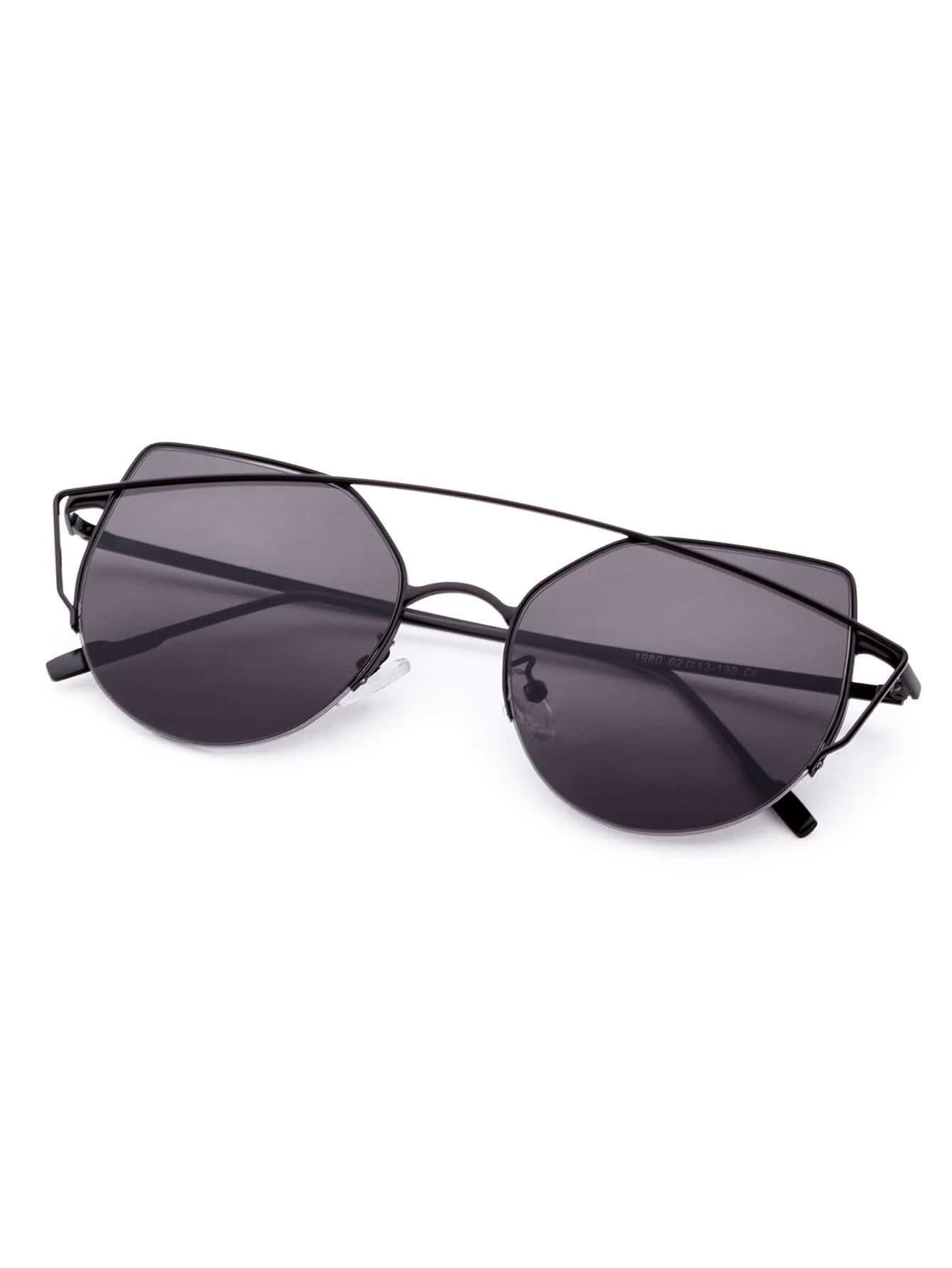 Black Frame Double Bridge Cat Eye Sunglasses -SheIn(Sheinside)