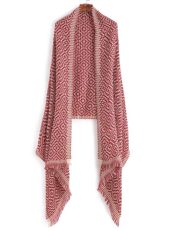 Red Chinese Knot Knitting Pattern Scarf -SheIn(Sheinside)
