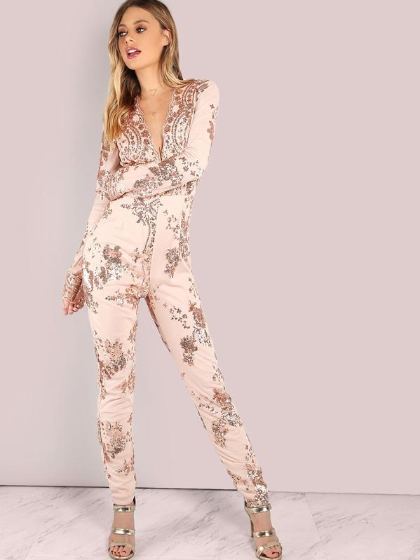 2e3d8e8495d Plunging Scallop V Neckline Floral Sequin Skinny Jumpsuit ROSE GOLD ...