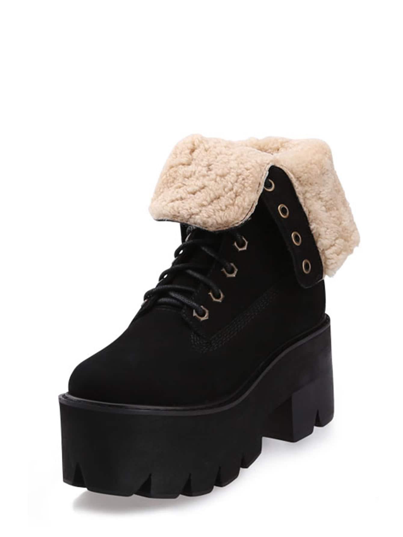 black faux suede fur lined platform boots shein sheinside