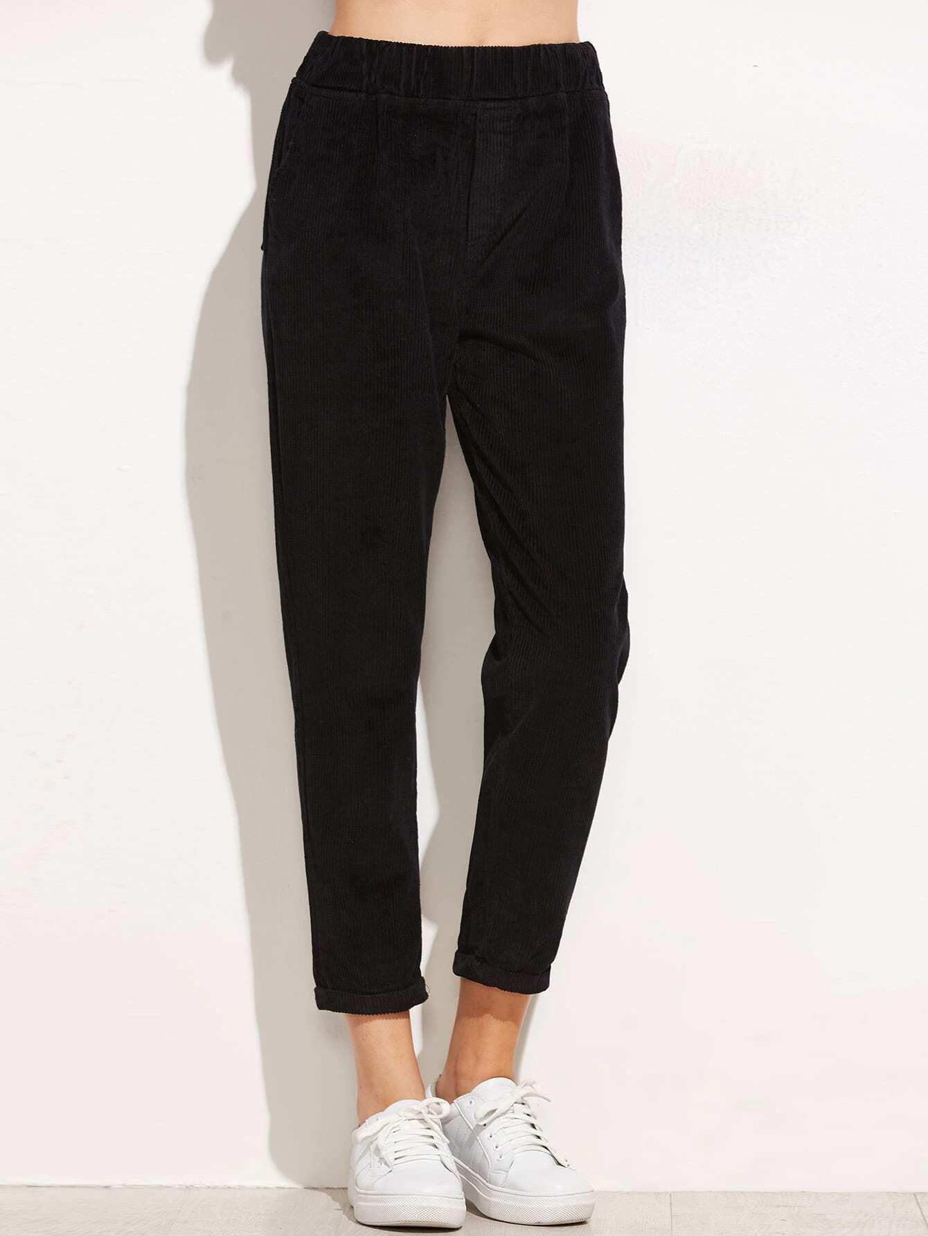 Black Elastic Waist Cuffed Corduroy Pants -SheIn(Sheinside)