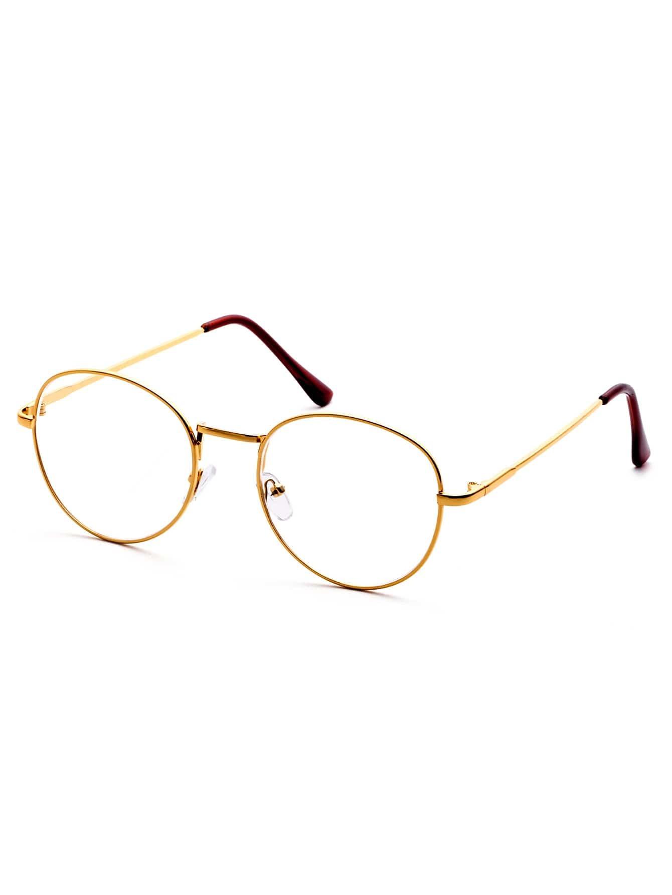 e5435df1435 Gold Delicate Frame Clear Lens Glasses -SheIn(Sheinside)