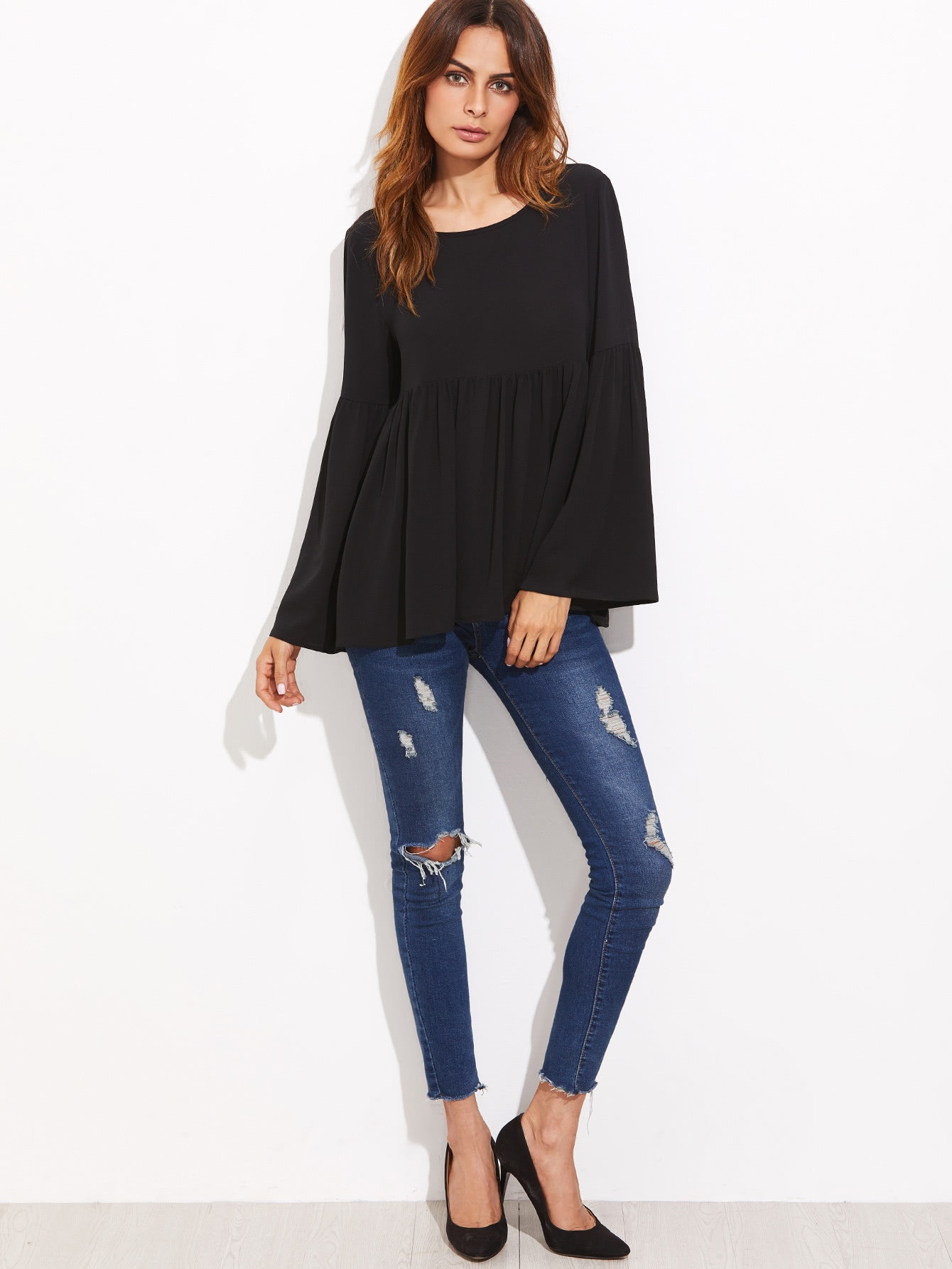 Black Bell Sleeve Cutout Back Babydoll Blouse