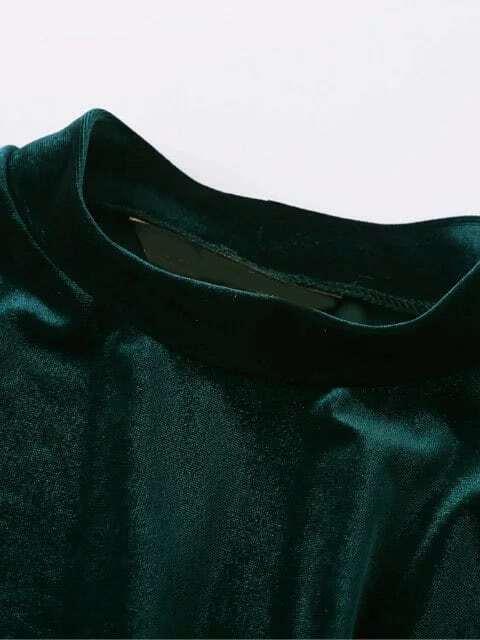 Dark Green Mock Neck Velvet Dress
