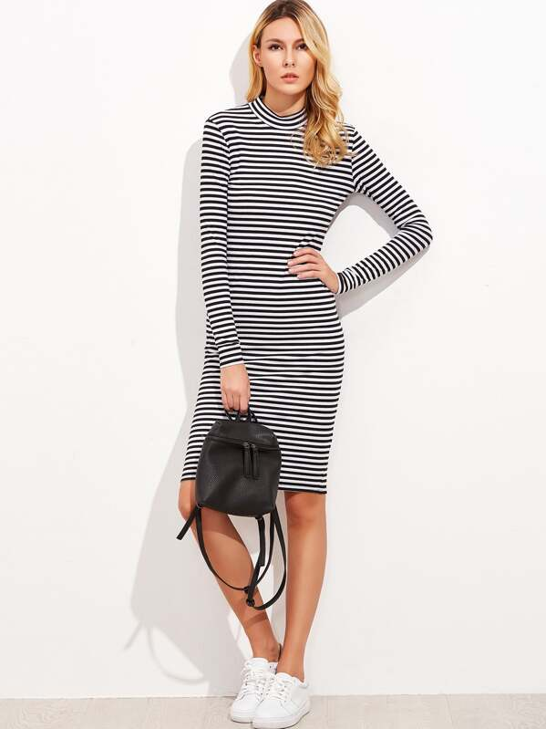 937d01f38a Black And White Striped Mock Neck Ribbed Dress -SheIn(Sheinside)
