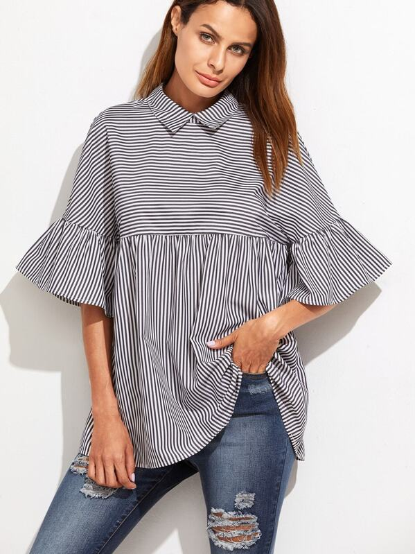 95d2651be4d972 Striped Frill Sleeve Babydoll Top
