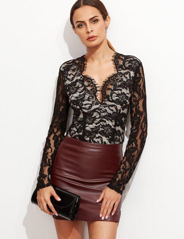 d086a514a2 Black Scallop V Neck Sheer Lace Bodysuit   SHEIN
