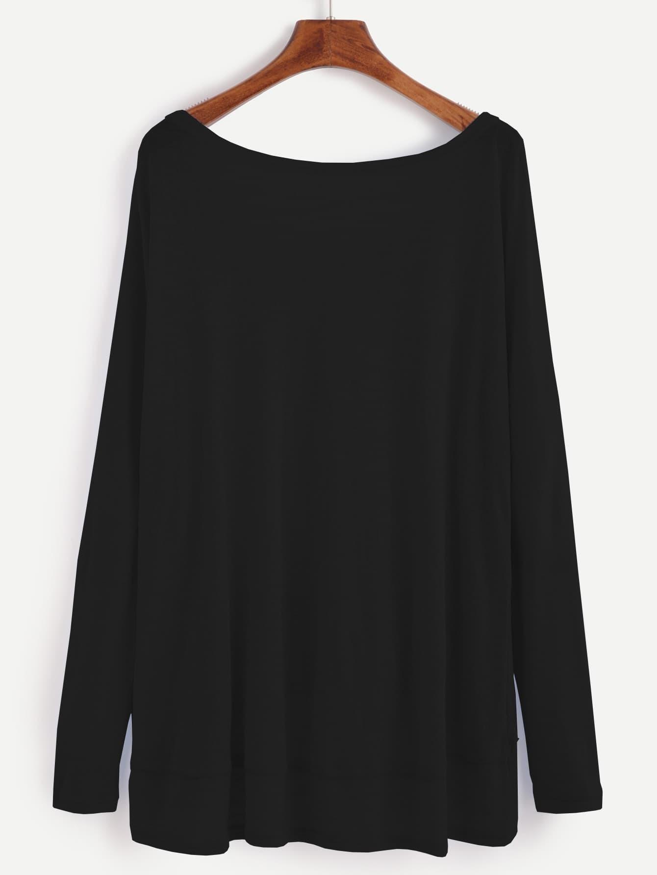 Black Dip Hem T-shirt