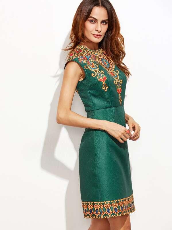 7d7f9fa96a01 Vintage Print Cap Sleeve Jacquard Dress -SheIn(Sheinside)