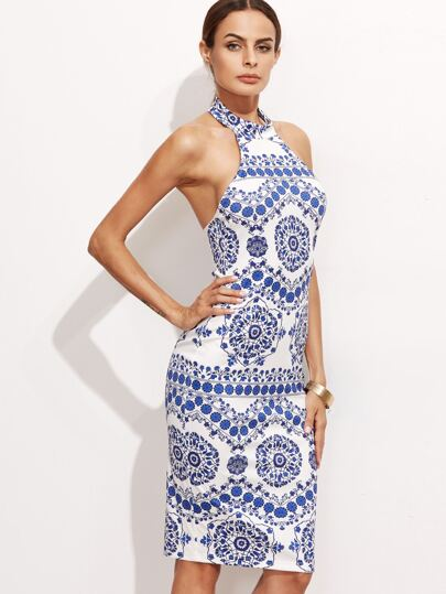 Blue And White Porcelain Halter Neck Dress -SheIn(Sheinside)