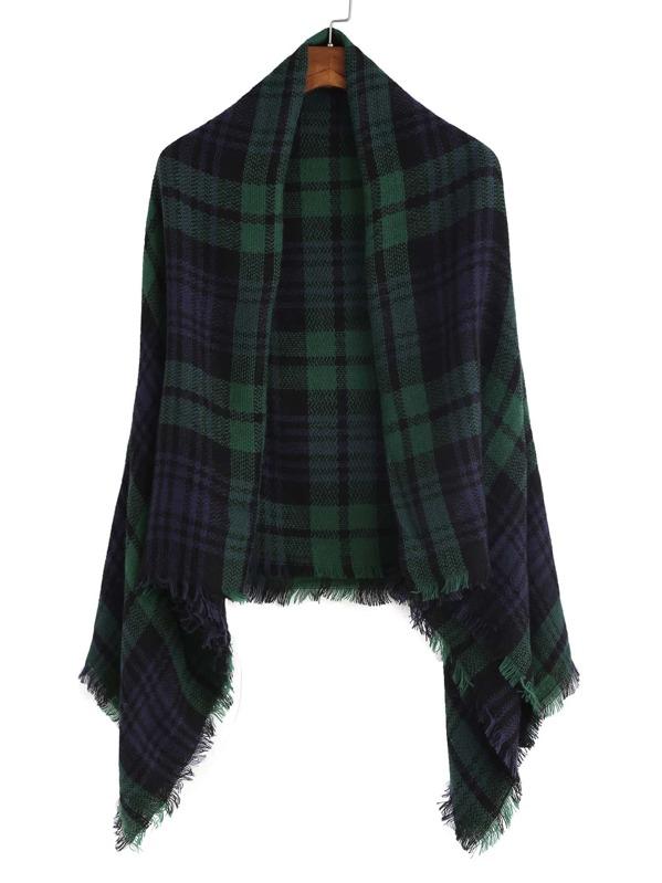 Echarpe châle en écossais avec frange - vert vintage et bleu marine -French  SheIn(Sheinside) 817ea4a930f
