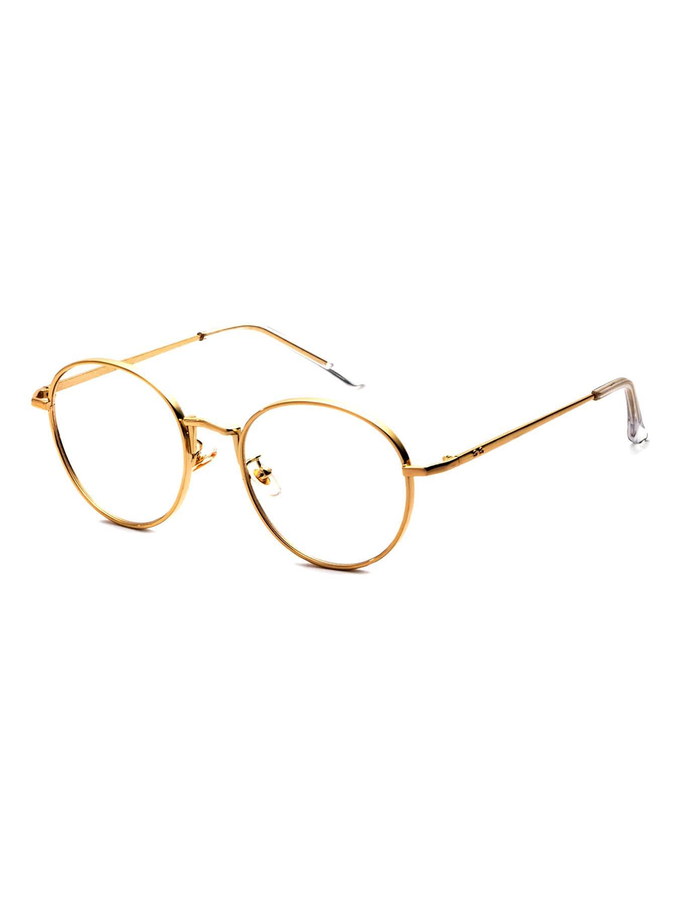 Gafas de sol con marco dorado y lentes transparente -Spanish SheIn ...