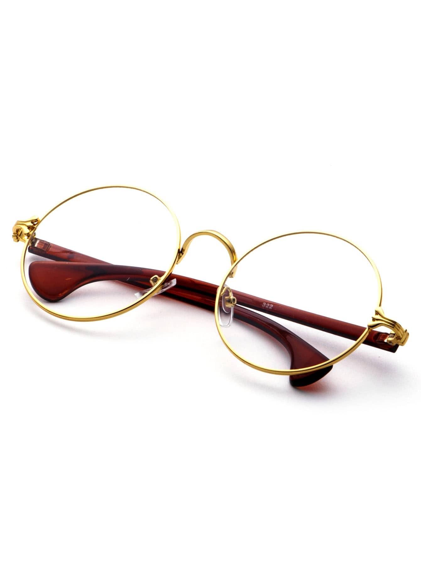 Round Glasses Gold Frames : Gold Frame Contrast Arm Round Lens Glasses -SheIn(Sheinside)