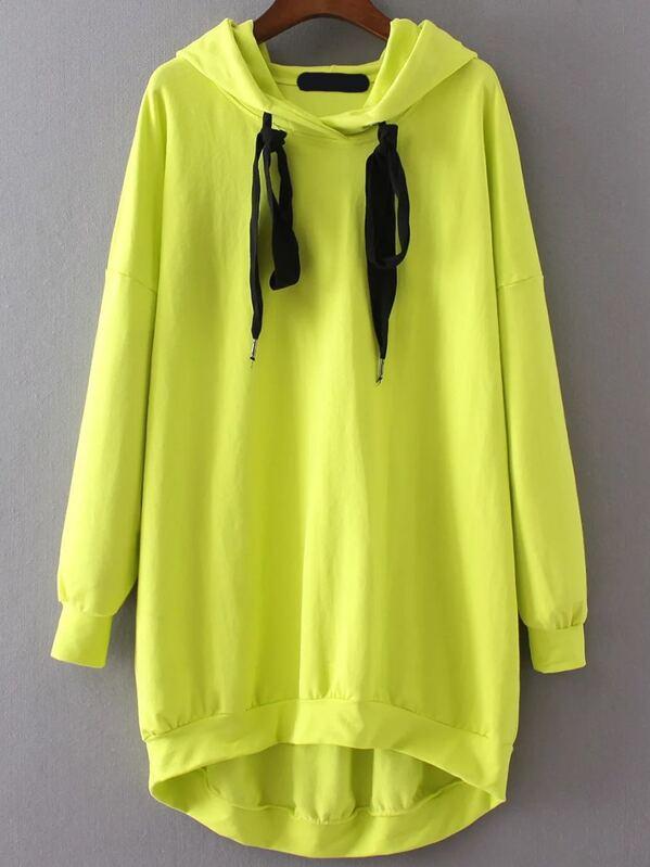 capucha amarillo fluo y encaje sudadera con Vestido capucha de con zMUSGqVp