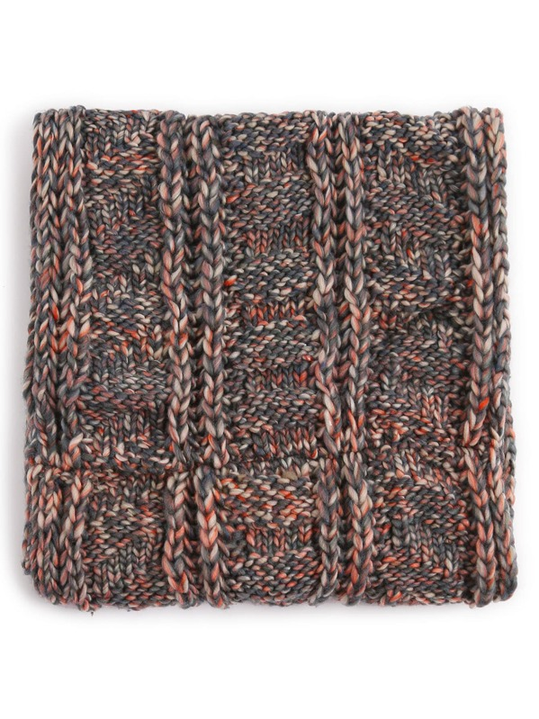 Grey Ribbed Marled Chunky Knit Infinity Scarf Shein