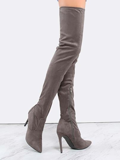 Stiletto Pointy Toe Thigh High Boots GREY -SheIn(Sheinside)