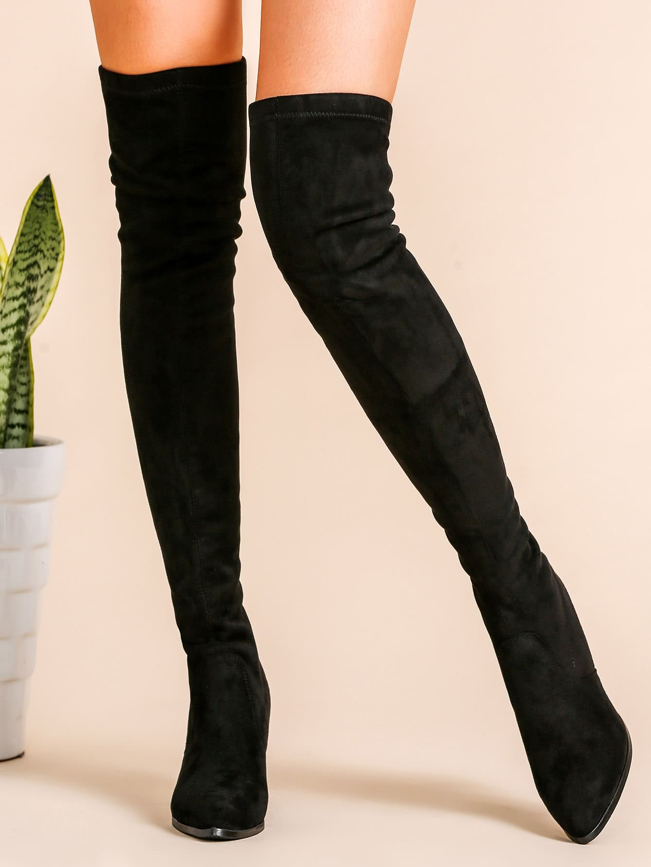 black faux suede point toe back zipper thigh high chunky. Black Bedroom Furniture Sets. Home Design Ideas