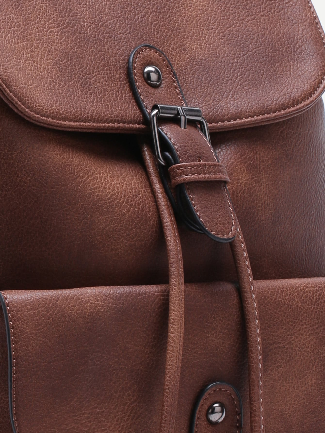 Brown PU Buckle Strap Drawstring Flap Backpack