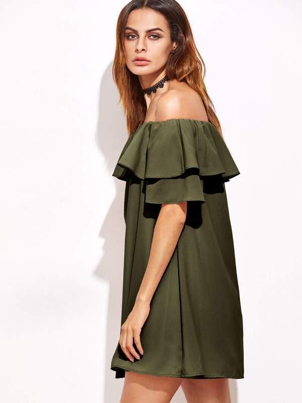 kleid grün schulterfrei