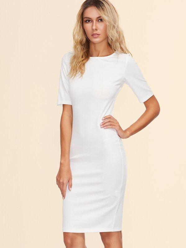 02bf8ec1b2f Белое модное платье-футляр