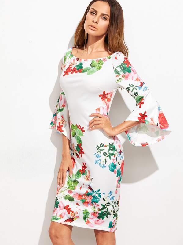 White floral print bell sleeve sheath dress sheinsheinside mightylinksfo