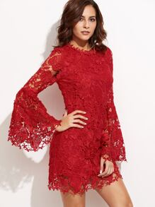 Red Embroidered Lace Overlay Bell Sleeve Dress