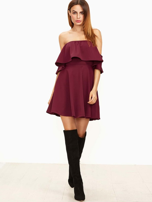 Off the Shoulder Ruffle Skater Dress BURGUNDY. AddThis Sharing Buttons ebe671cd9