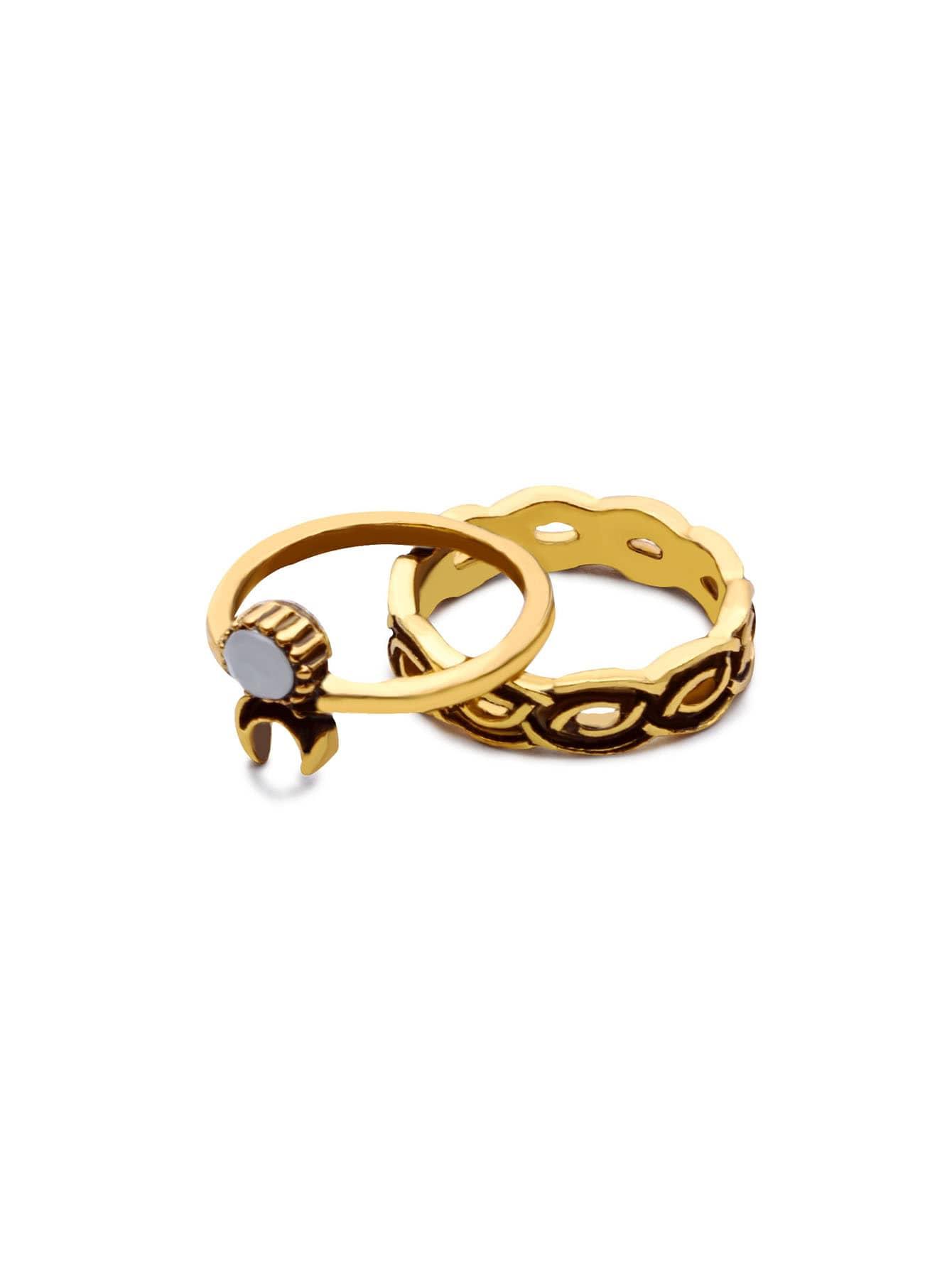 10PCS Antique Gold Geometric Carved Ring Set