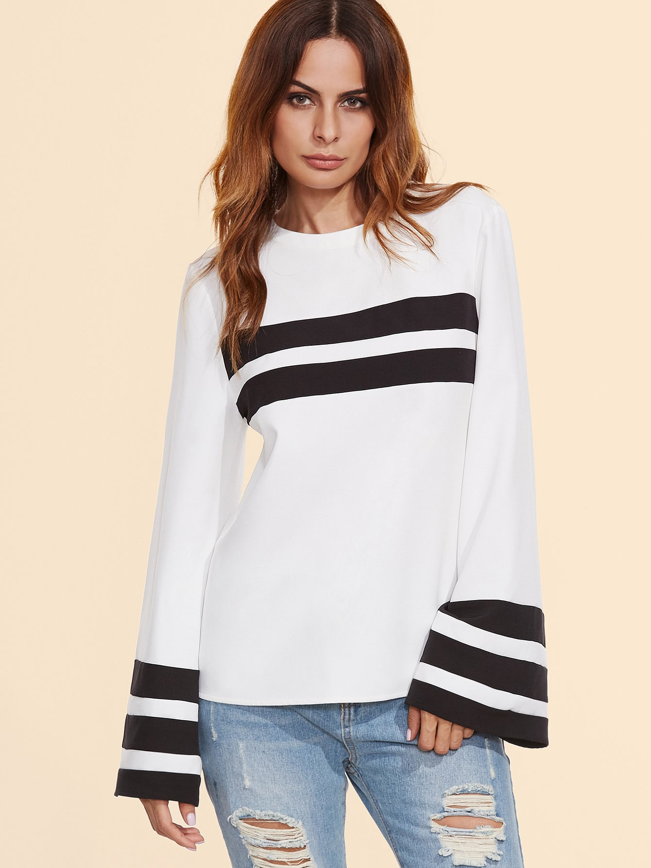 White Contrast Striped Bell Sleeve Top